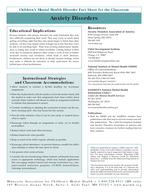Anxiety Disorders MACMH Childrens Mental Health Disorder Fact Sheet for the Clas