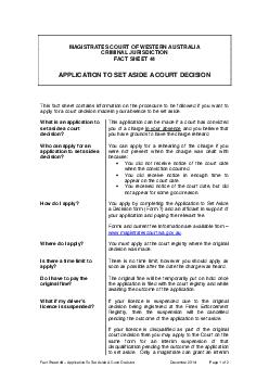 Fact Sheet   Application to set aside a court de cision as at  January  Page  of