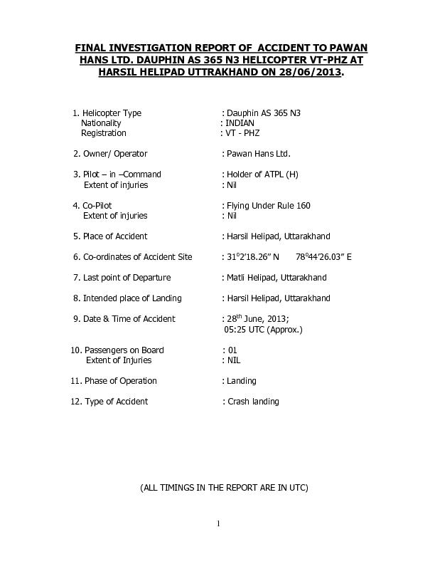 INVESTIGATION REPORT OF ACCIDENT TO PAWAN HANS LTD