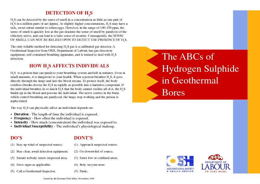 The ABCs of hydrogen sulphide in geothermal bores