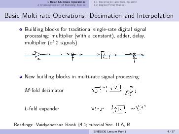 Basic multi rate operations decimation and interpolation