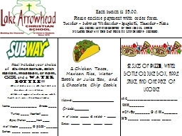 Each lunch is $5.00. PowerPoint PPT Presentation