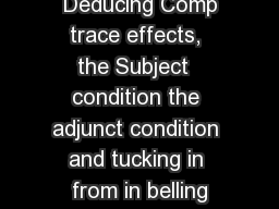 Deducing Comp trace effects, the Subject  condition the adjunct condition and tucking in from in belling