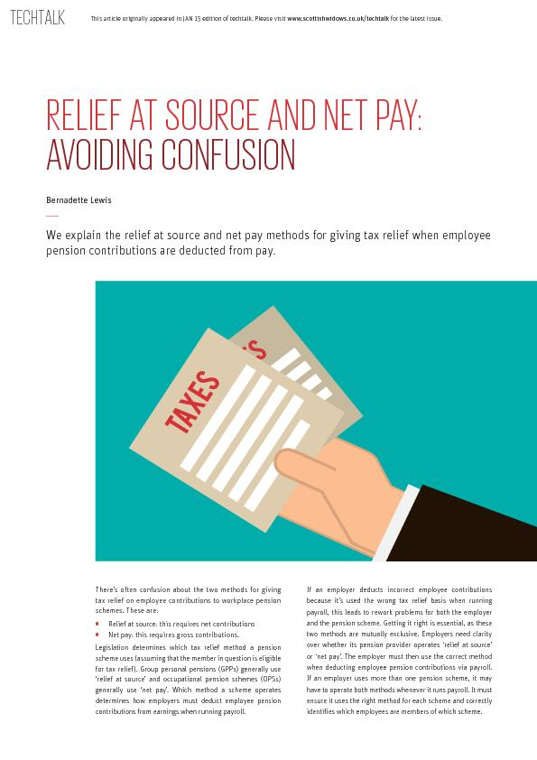 Relief at source and net pay avoiding confusion
