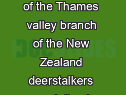 Application for membership of the Thames valley branch of the New Zealand deerstalkers association inc