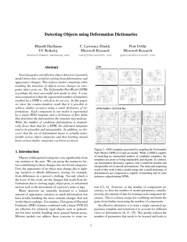 Detecting objects using deformation dictionaries
