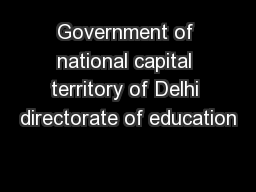 Government of national capital territory of Delhi directorate of education