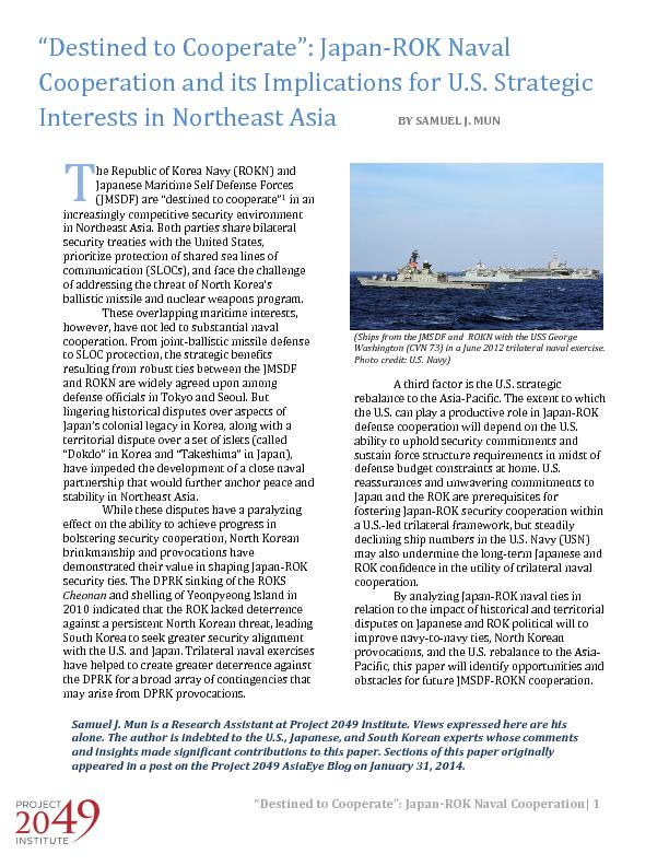 �Destined to Cooperate�: Japan ROk naval cooperation and its implications for US strategic interests in Northeast asia