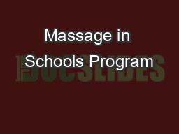 Massage in Schools Program