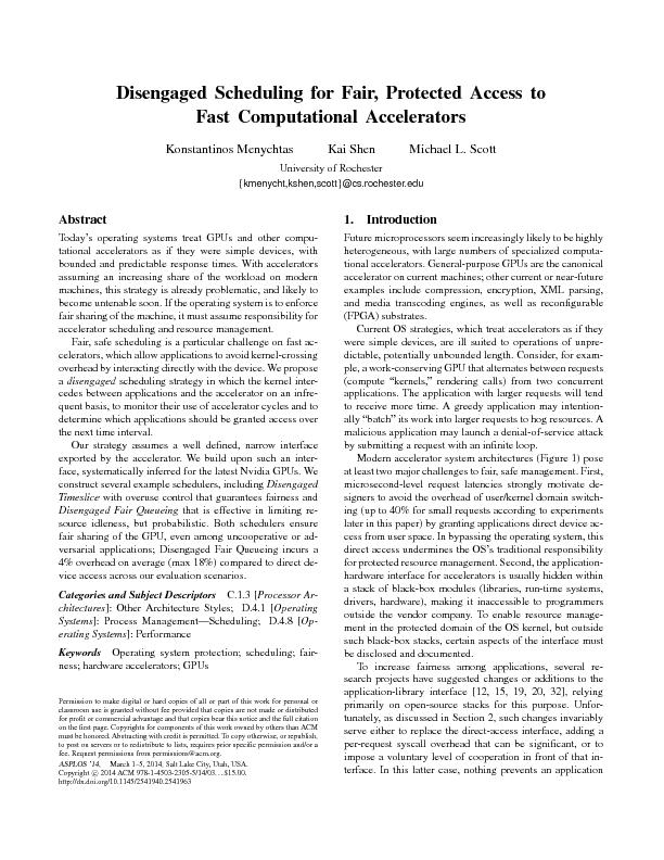 Disengaged scheduling for fair protected access to fast computational accelerators