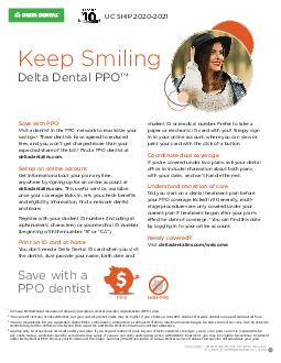 Delta Dental PPO SM Easy Friendly Accessible Were pleased to be your partner in maintaining great oral health PDF document - DocSlides