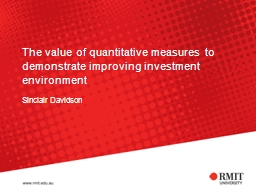The value of quantitative measures to demonstrate improving