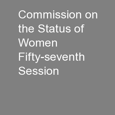 Commission on the Status of Women Fifty-seventh Session