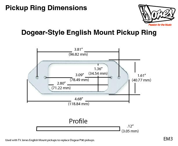 Pickup Ring Dimensions dogear style english mount pickup ring