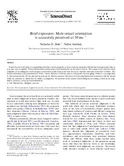 Brief exposures Male sexual orientation is accurately perceived at  ms Nicholas O
