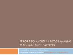 ERRORS TO AVOID IN PROGRAMMING TEACHING AND LEARNING