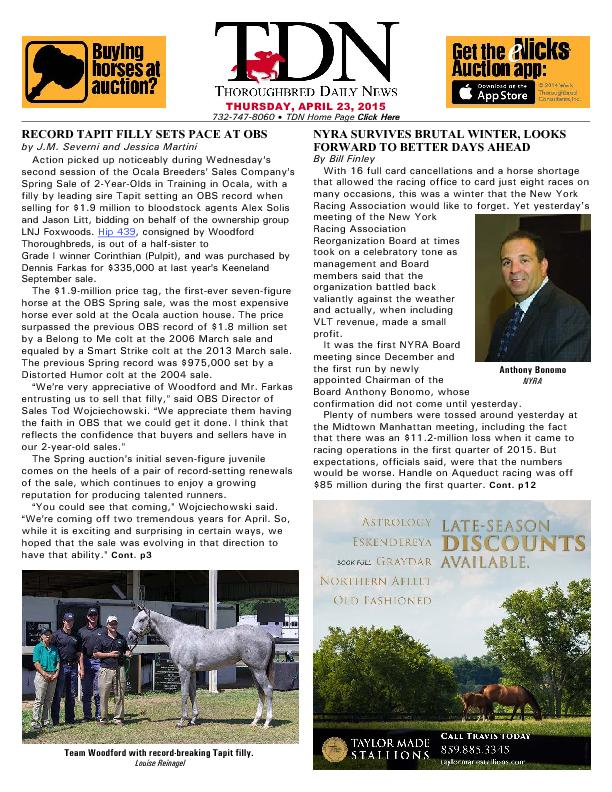 THURSDAY, APRIL 23, 2015732-747-8060  TDN Home Page Click Here