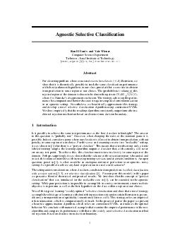 Agnostic Selective Classication Ran ElYaniv and Yair Wiener Computer Science Department Technion  Israel Institute of Technology raniwyair cstx