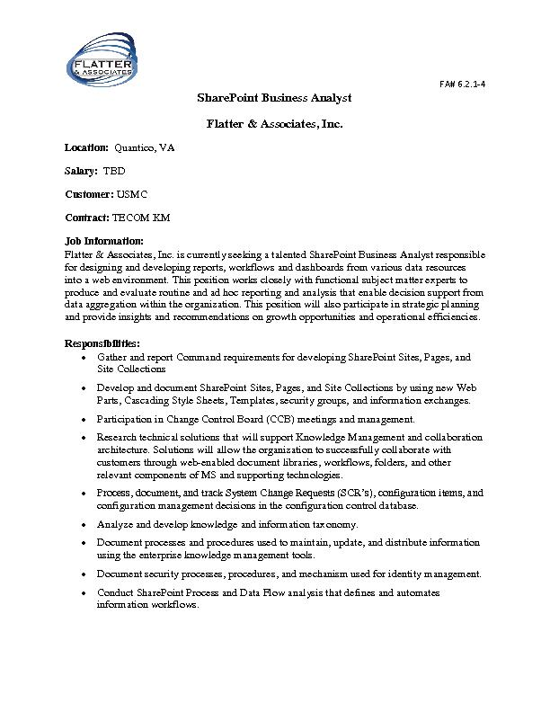 SharePoint Business Analyst