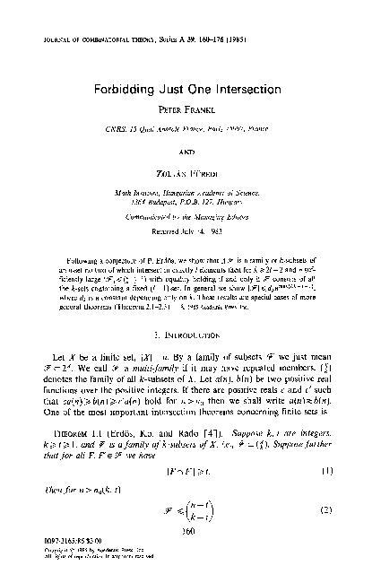JOURNAL OF COMBINATORIAL THEORY, Series A 39, 160-176 (1985)
