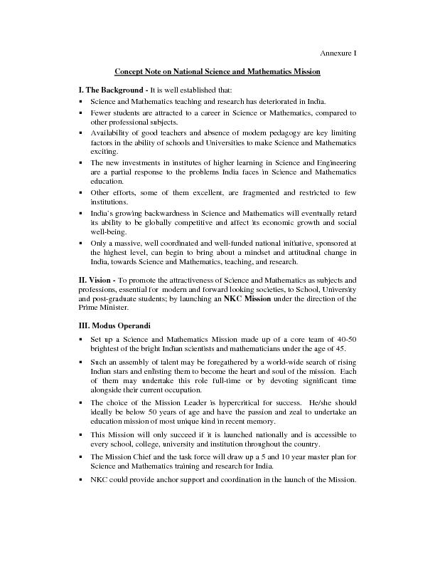 Annexure I Concept Note on National Science and Mathematics Mission ..