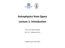 Astrophysics from Space