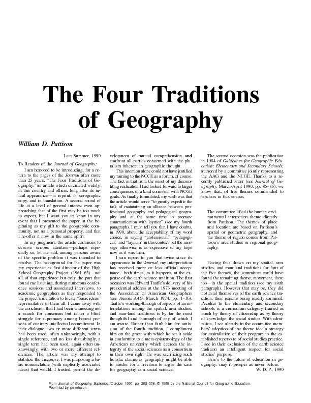 From Journal of Geography, September/October 1990, pp. 202