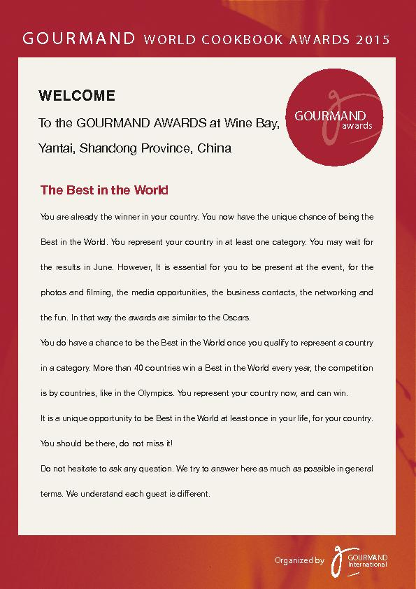 To the GOURMAND AWARDS at Wine Bay,Yantai, Shandong Province, CThe Bes