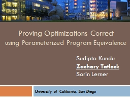 Proving Optimizations Correct PowerPoint PPT Presentation