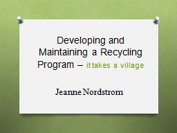 Developing and Maintaining a Recycling Program –