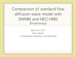 Comparison of overland flow diffusion wave model with SWMM
