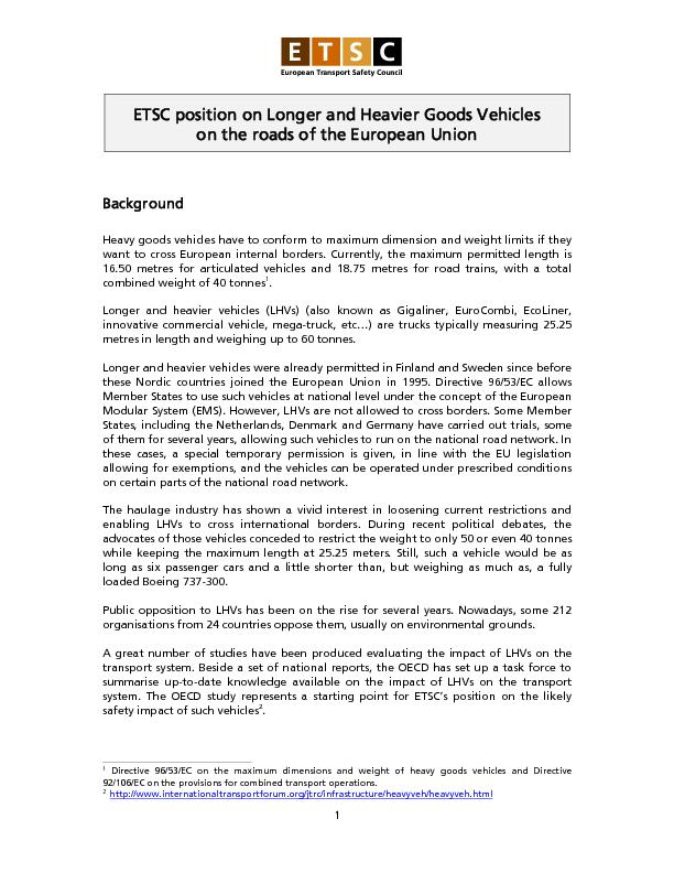 ETSC position on Longer and Heavier Goods Vehicles PowerPoint PPT Presentation