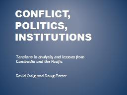 Conflict, Politics, institutions