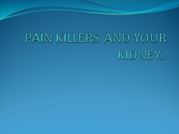 PAIN KILLERS AND YOUR KIDNEY..
