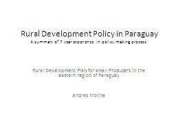 Rural Development Policy in Paraguay PowerPoint PPT Presentation