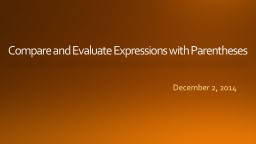 Compare and Evaluate Expressions with Parentheses