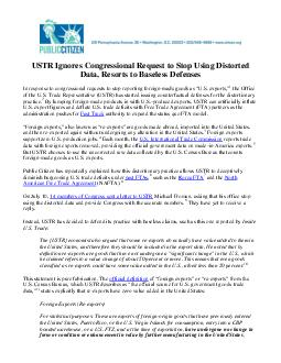 USTR Ignores Congressional Request to Stop Using Distorted