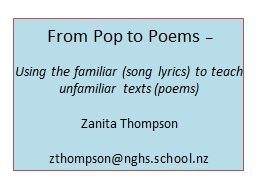 From Pop to Poems PowerPoint PPT Presentation