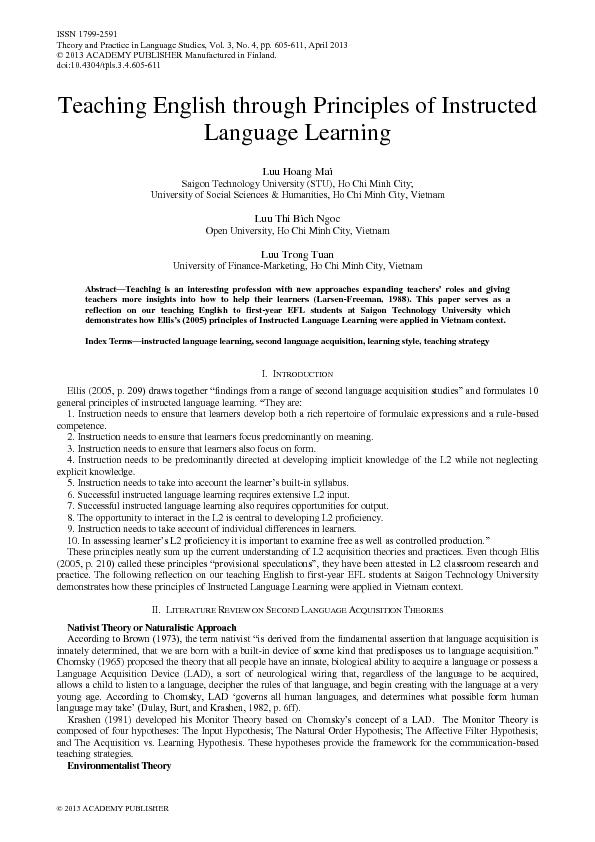 Index Termsnstructed anguage earningsecond language acquisitionlearnin