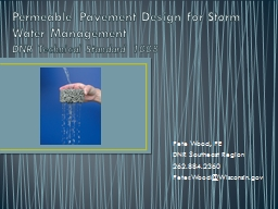 Permeable Pavement Design for Storm Water Management