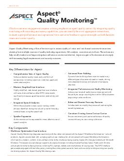 DATA SHEET Aspect Quality Management offers essential call logging fulltime recording speech and text analytics quality monitoring and agent coaching capabilities that help improve the quality of you PowerPoint PPT Presentation