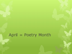 April = Poetry Month