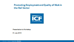 Promoting Employment and Quality of Work in the Rail Sector