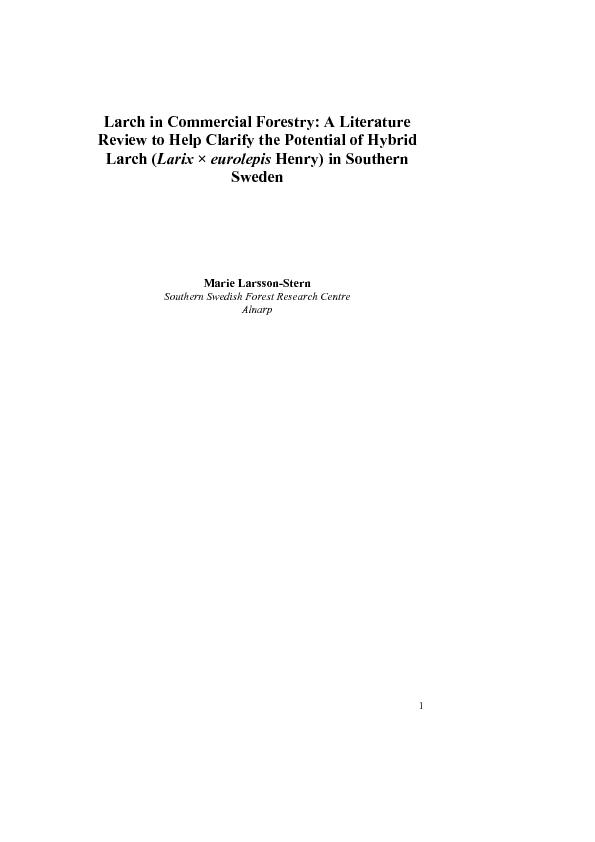 1Larch in Commercial Forestry: A Literature Review to Help Clarify the