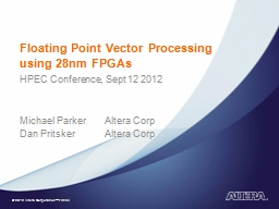 Floating Point Vector Processing using 28nm FPGAs