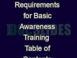 A Guide to OHSA Requirements for Basic Awareness Training  Table of Contents About This Guide PowerPoint PPT Presentation