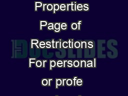 Finding Physical Properties Page of  Restrictions For personal or profe ssional  PDF document - DocSlides