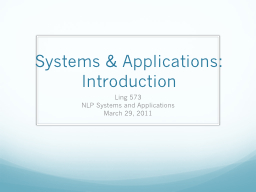 Systems & Applications: