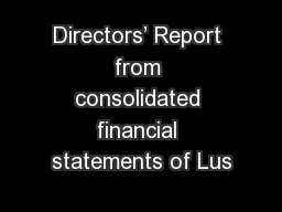 Directors' Report from consolidated financial statements of Lus
