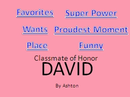 Classmate of Honor PowerPoint PPT Presentation